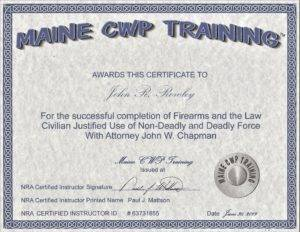 Maine Firearms and the Law Certificate