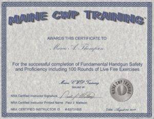 Maine handgun safety certificate