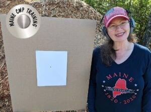 Darlene's First Shot Ever After Fundamental Instruction https://mainecwptraining.com/course-products/fundamental-handgun-safety-and-proficiency/