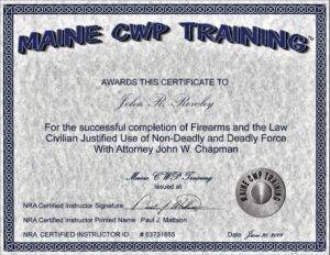 Maine Firearms Law Certificate https://mainecwptraining.com/maine-firearms-law/